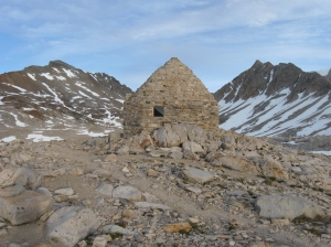 The hut built in John Muir's honor in 1936 atop Muir Pass. I ended up spending a warm night inside the hut as a storm front rolled in.
