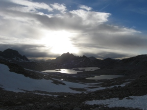 The most beautiful start to a sunset atop of Muir Pass.