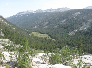 """Lyell Canyon just before reaching Tuolumne Meadows, where """"everything is betto in the metto""""."""